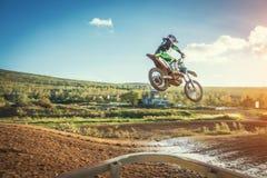 Motocross MX jeźdza jazda na drodze polnej Obrazy Royalty Free
