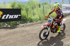 Motocross MXGP Trentino 2015 ITALY Antonio Tony Cairoli #222. Antonio Tony Cairoli #222 at Motocross MXGP Trentino 19 april 2015 stock image