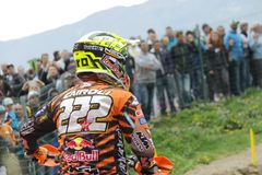 Motocross MXGP Trentino 2015 ITALY Cairoli #222. Antonio Tony Cairoli #222 at Motocross MXGP Trentino 19 april 2015 stock image