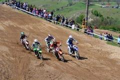 Motocross-na begin. Stock Foto