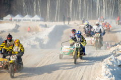 Motocross named VP Chkalov. BORODINO, RUSSIA - FEBRUARY 5: Motorcycles with a sidecar at the all-Russian motocross named VP Chkalov, the organizer of the Auto Stock Photography