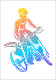 Motocross. Pop art illustration of a man riding motocross Royalty Free Stock Photos
