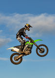 Motocross practise participant in Tain MX, Scotland. This is a Motocross lover at an open to the public practise session at the Tain Motocross Track, Scotland stock photography