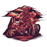 Motocross que corre na montanha da rocha ilustração do vetor