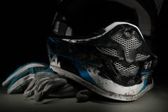 Motocross rękawiczki i hełm Obrazy Royalty Free