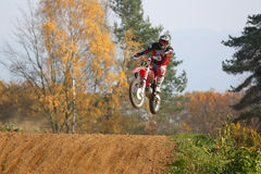 Motocross race. ZABREH, CZECH REPUBLIC - OCTOBER 30. Motocross race called the Zabrezky motocross. Unidentified racer riding a bike. The race went up in Zabreh Royalty Free Stock Image