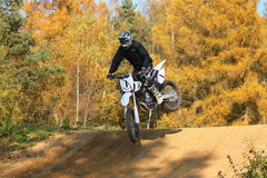 Motocross race. ZABREH, CZECH REPUBLIC - OCTOBER 30. Motocross race called the Zabrezky motocross. Unidentified racer riding a bike. The race went up in Zabreh Royalty Free Stock Photography