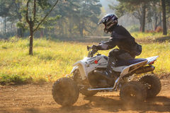 Quad  race. Quad RACE in ZABREH, CZECH REPUBLIC - OCTOBER 30. Motocross race called the Zabrezky motocross. Unidentified racer riding a quad. The race went up in Royalty Free Stock Photography