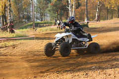 Motocross race. In ZABREH, CZECH REPUBLIC - OCTOBER 30.  called the Zabrezky motocross. Unidentified racer riding a quad. The race went up in Zabreh, Czech Stock Photos