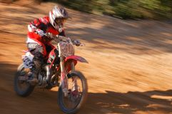 Motocross racer on a straight during the state finals in Americana 2007 royalty free stock image