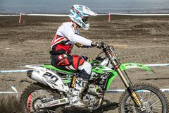 Motocross race on the beach stock images