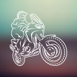 Motocross race enduro extreme motorcycle driver logo monochrome illustration Royalty Free Stock Images