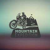 Motocross race enduro extreme motorcycle driver logo monochrome illustration Royalty Free Stock Photography