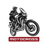 Motocross race enduro motorbike driver logo monochrome illustration. Motocross enduro race driver silhouette monochrome illustration Stock Images