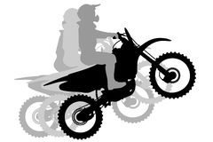 Motocross Race silhouette illustration Royalty Free Stock Photos