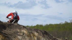 Motocross racer jumping. stock footage