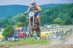 Motocross racer jumping Royalty Free Stock Photos