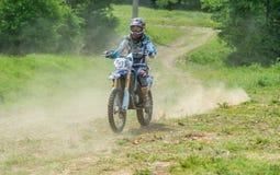 Motocross racer. On national championship stage. Event from 20.05.2015 in Moreni, Dambovita, Romania Stock Photos