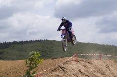 Motocross Racing. Landing after a Jump Royalty Free Stock Photos