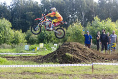 Motocross racing victory jump Stock Photography