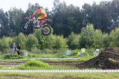 Motocross racing victory jump Royalty Free Stock Photos