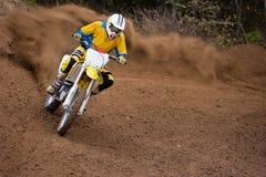 Motocross-Rennstaub-Reiter Stockbilder