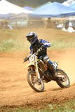 Motocross rider. In curve Stock Image