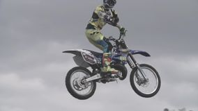 Motocross Rider in the Air stock footage