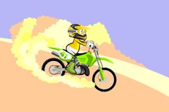 Motocross rider creates a cloud of dust and sand. Cartoon style. Royalty Free Stock Images