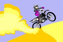 Motocross rider creates a cloud of dust and sand. Cartoon style. Stock Photography
