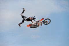 Motocross rider. Flying through the air with his bike Stock Photography