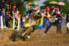 Motocross rider on FMSCT Thailand Championship. Royalty Free Stock Photography
