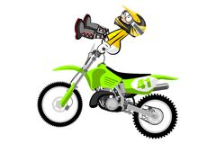 Motocross rider isolated over white backgrorund . Cartoon style. Royalty Free Stock Photography