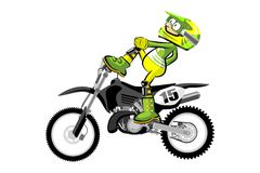 Motocross rider isolated over white backgrorund . Cartoon style. Royalty Free Stock Images