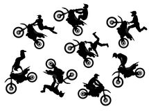 Motocross rider jump. Isolated motocross rider jump vector set Royalty Free Stock Images