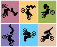 Motocross rider jump. Vector illustration Royalty Free Stock Images