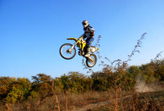 Motocross. Rider on local track Royalty Free Stock Photo