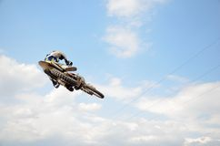 Motocross rider on motorbike efficient flight Stock Photo