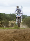 Motocross Rider. Practising on dirt track at Cambois, Blyth, Northumberland. England, UK Stock Photos