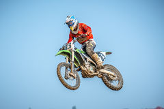Motocross rider in the race Royalty Free Stock Image