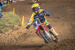 Motocross rider in the race Royalty Free Stock Photos