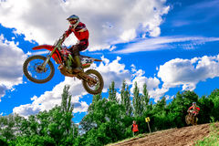 Motocross rider on the race Royalty Free Stock Photos