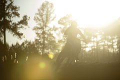 Motocross rider sunset Royalty Free Stock Photos