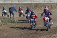 Motocross rider on a track Royalty Free Stock Photos