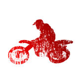Motocross rider. Vector grungy silhouette Stock Photo