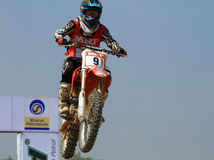 Motocross rider Veer Patel jumping the tabletop. Team Pashankar's Veer Patel, riding a Honda CR 250, was adjudged the best rider at the 5th round of the MRF stock photos