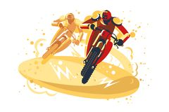 Motocross riders taking part in riding competition vector illustration