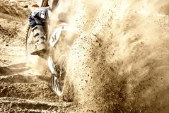 Motocross on the sand. Motocross starting on the sand stock photography