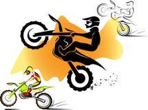 Motocross set. Motorcycle motocross sport extreme background design Royalty Free Stock Photos