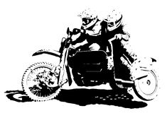 Motocross Sidecar Team. A sidecarcross team going full pelt royalty free illustration